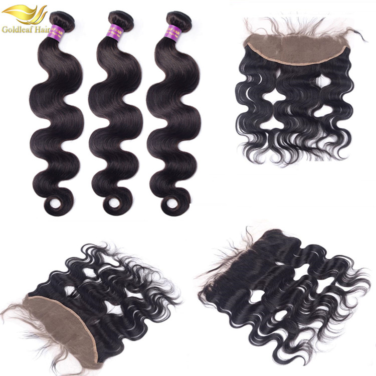 Cheap grade 8a virgin 3 bundles peruvian body wave hair with lace frontal closure