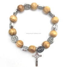 pine wooden beads and st benedict medals bracelet,fashion religious rosary bracelet