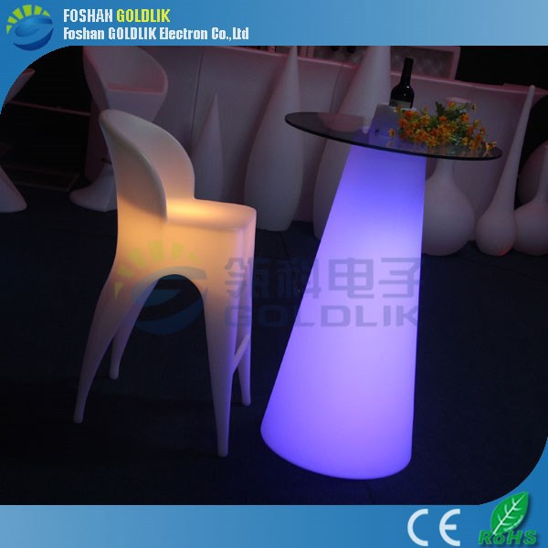GLACS Control Illuminated Bar Table and Stools for Commercial