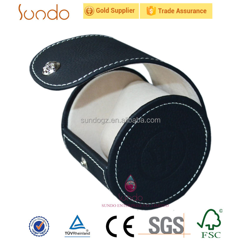 round shape leather box watch travel case in black