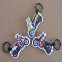 chear promotion gifts CMYK custom motorcycle LED PVC keychain