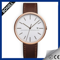 Fashion New Design Minimalistic Style PU Leather Strap Watches For men and women