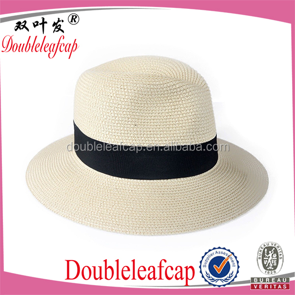 2015 fashion Straw hat paper braid straw panama hats with placket summer straw hat in China