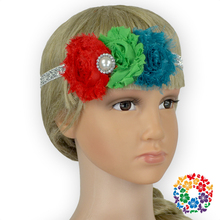 Three Shabby Flower Hair Band Headwear Accessories Infant Toddler Girl Head Wrap Vintage Cute Baby Headbands 2015