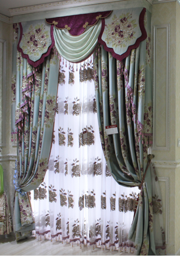 2015 High quality Custom Floral hand embroidered curtain