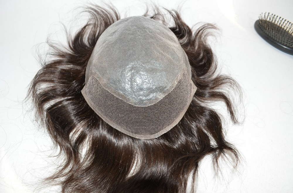 top quality Indian human remy hair PU toupee with lace front