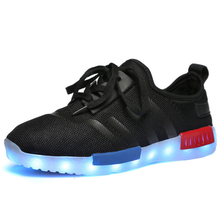 Unisex Led light black gym shoes glow sneakers running shoes