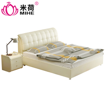 MIHE hot sale Leather Modern Furniture Cheap White Design Bedroom King Bed