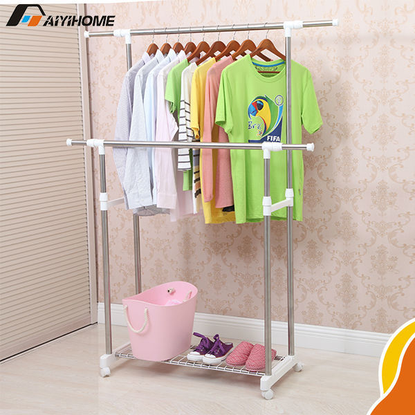 multifunctional indoor clothes drying rack double pole metal clothes drying rack telescopic. Black Bedroom Furniture Sets. Home Design Ideas