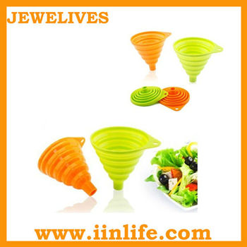 Hot selling food grade silicone foldable oil funnel