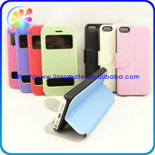 Protective leather book case with caller ID window for iphone5