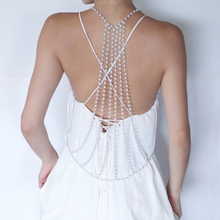 Sexy Women Pearl Beads Cross Metal Body Chain Bikini Belly Harness Necklace Women Body jewelry Accessories For Evening Dress