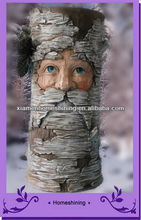 santa clause face resin tree stump with led light