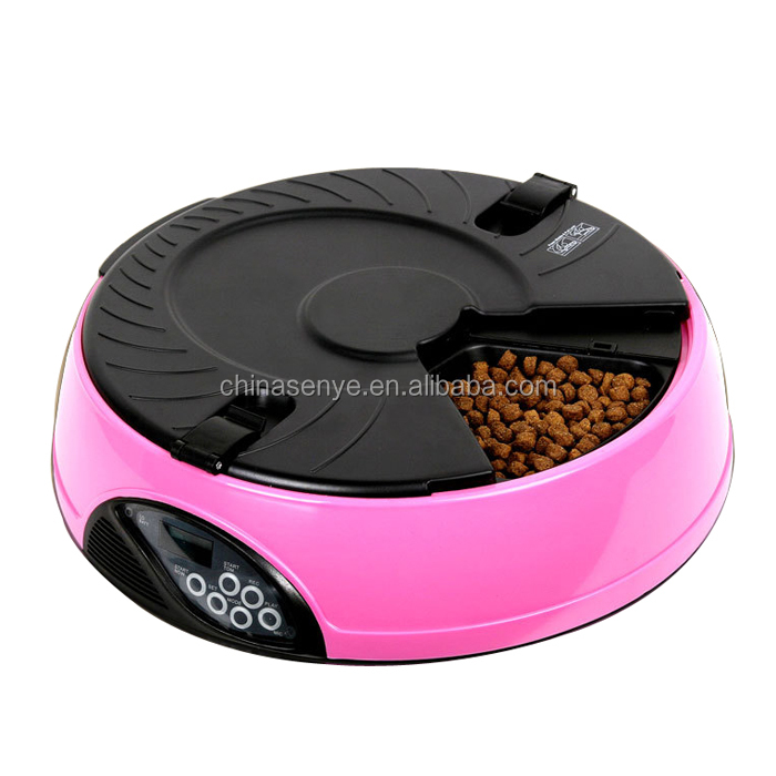 Remote controlled pet feeder 6 compartment auto feeding bowls auto pet feeder