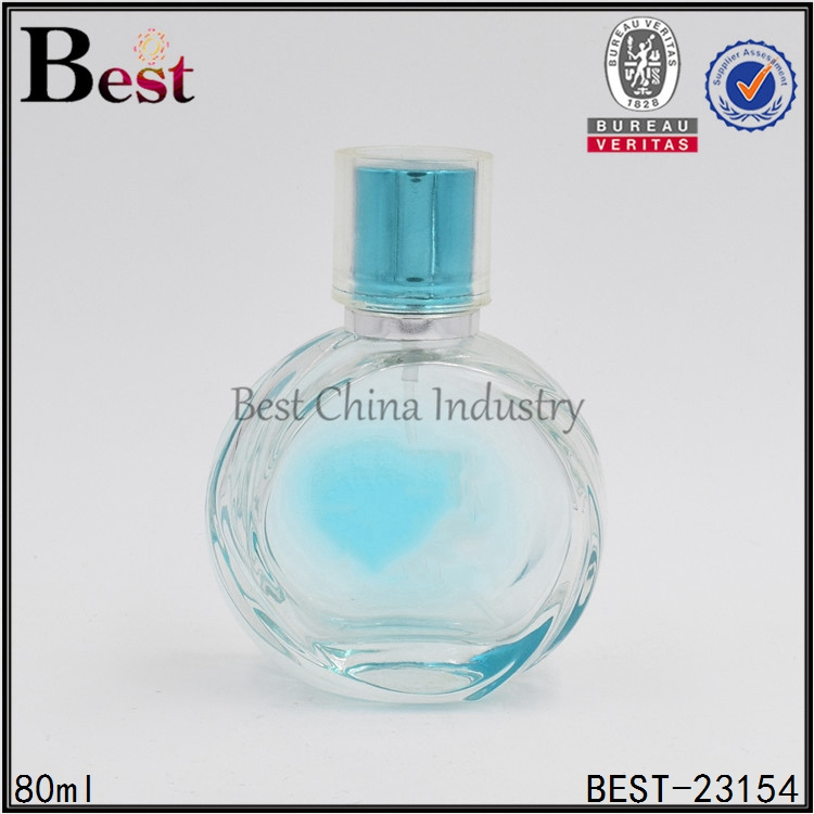 80ml elegant blue round glass atomizer perfume bottle for women cosmetic