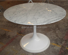 Modern fiberglass round marble top tulip dining table