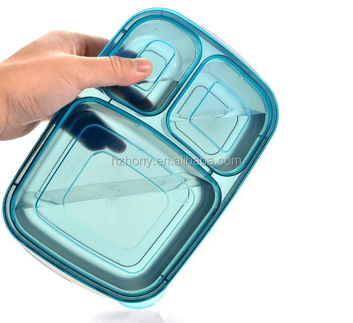 7 Pack Color Meal Prep 3 Compartment Portion Control Plastic Bento Lunch Box Food Container and 1 ice pack