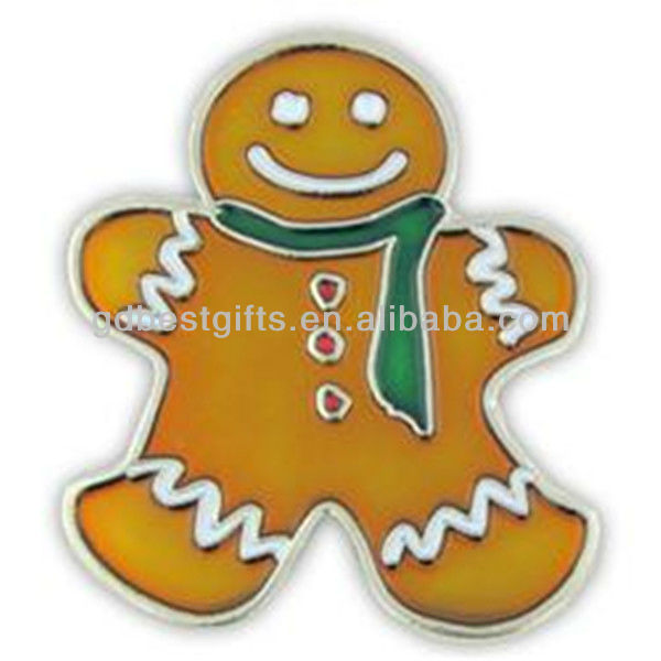 Gingerbread Man enamel lapel pins badges for christmas decoration