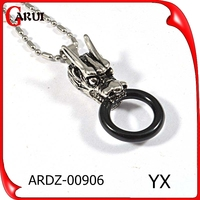 high quality jewelry stainless steel design dragon head animal round pendant