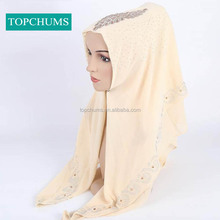 High quality fashion elegant women instant shawl pearl chiffon muslim arab hijab