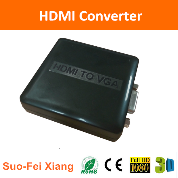 Standard mini hdmi male to vga female converter box with 1080p