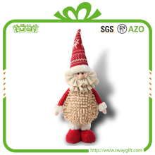 Customized 13 Inch Standing Christmas Decorations Santa Claus Stuffed Soft Toys Handmade Dolls