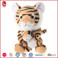 Cheapest hot selling plush tiger toy mom and baby new design