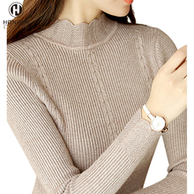 2017 Mature High Neck Hand Knitting Latest New Style Acrylic Blank Soft Thin Custom Winter Pullover Women Tight Sweater