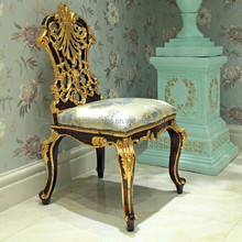 Luxury Italian Venetian Style Golden Decorated Solid Wood Carving Dining chair without Arms BF11-11253a