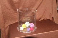 Commercial acrylic round container for used battery