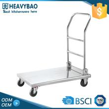 Stainless Steel Metal Market Push Moving Cart With 4 Wheels