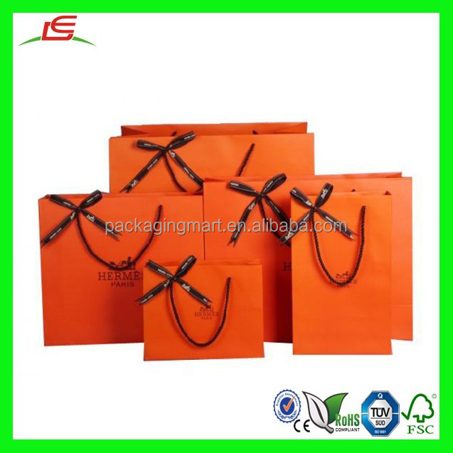NZ180 Elegant Orange Color Branded Paper Bag Recycle Shopping Bag with Handle