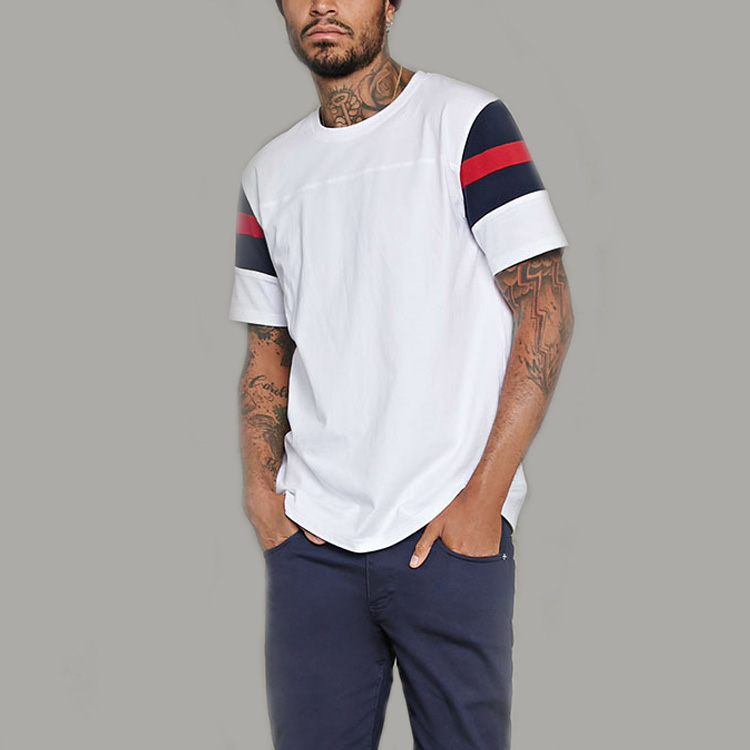 Contrast striped sleeve t shirt mens 100% cotton t shirt football shirt for men