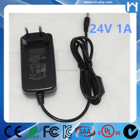 24W Switching power supply 100-240Vac plug-in AC-DC adapter 24V 1A charger for security IP camera