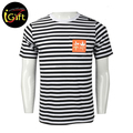 OEM Service Black Cotton Knit Stripe T shirt Men