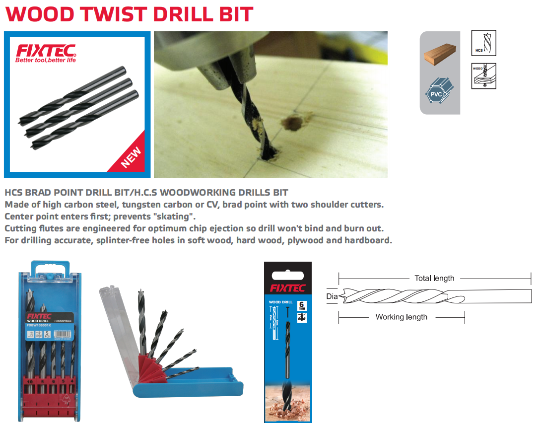 FIXTEC High Quality Wood twist drill bit set