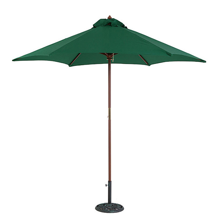 Logo customized sturdy wood outdoor use wooden beach umbrella