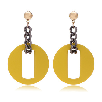 Trendy Alloy Linked Geometric Round Drop Earrings Popular Polymer Clay Earrings For Girls