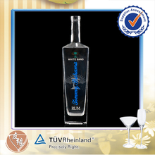 High Transparent 750ml Square Spirits Wholesale Rum Glass Bottle