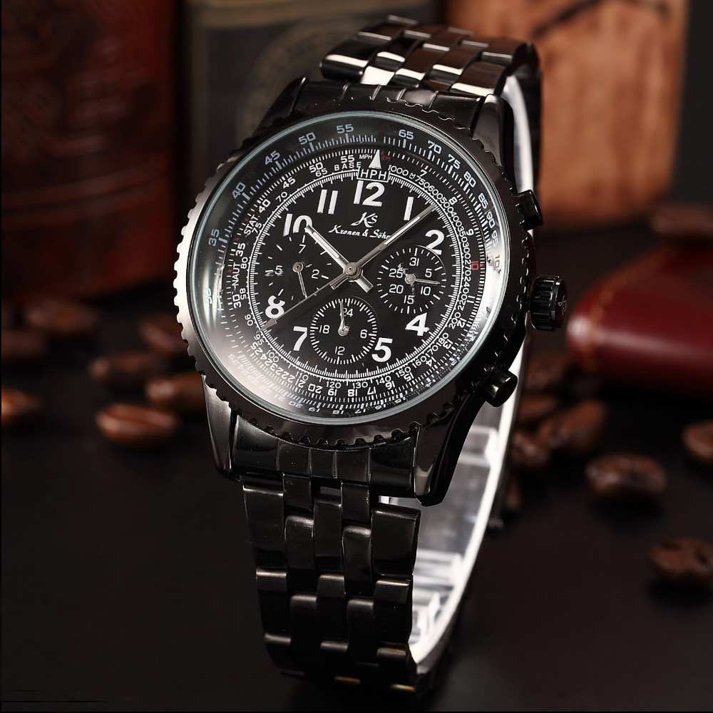 Date Day 24Hours 3 Dial Steel Mechanical Automatic Men's Watch