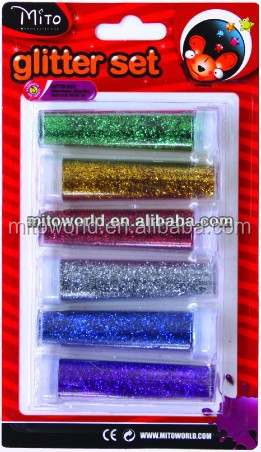 colorful glitter powder tube for school/office stationery items