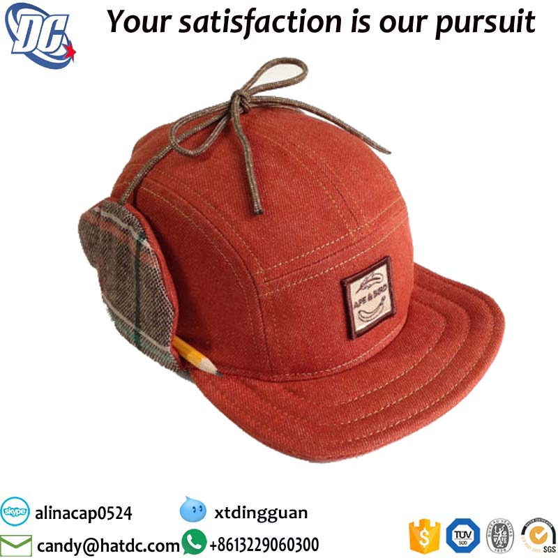 Promotiona OEM wholesale custom made high quality 5 panel earflap hat