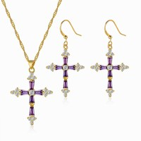 2016 Trending Products Purple Cubic Zirconia Gold 24 Women Fashion Design Accessories Cross Jewelry Sets For Lucky Girls