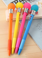 Creative stationery luminous ball pen dazzle colour bulb multifunctional double color ball pen for students gift