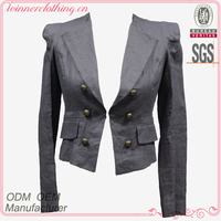 High Quality New Fashion made in china long sleeve fitted softshell jacket with front buttons decorate