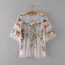 NS1084 ladies fashion o neck flower embroidery tops women net t shirts