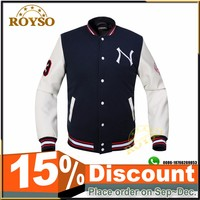 Custom Made Letterman Jackets Men Leather Sleeves Cheap College Baseball Varsity Women Cotton Fleece Black and White Jacket