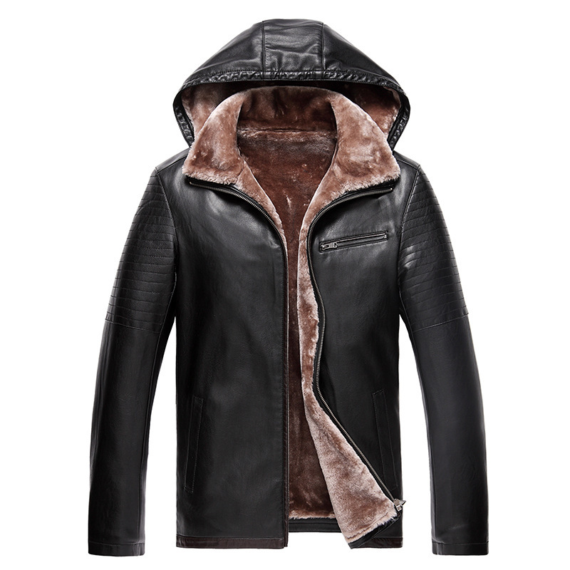 New 2015 autumn and winter men's leather Jacket, hooded detachable,  men leather fur thick velvet Leather Jacket, M-3XL!