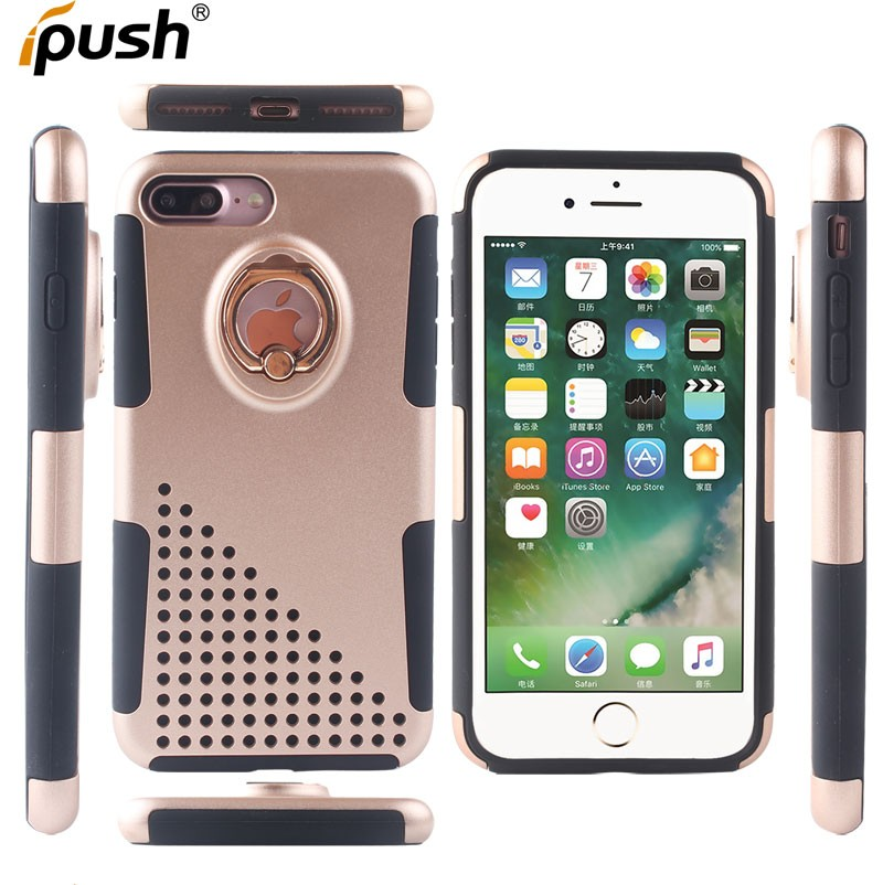Strong heavy duty armor pc silicone hybrid protector case with holster for iphone 7plus