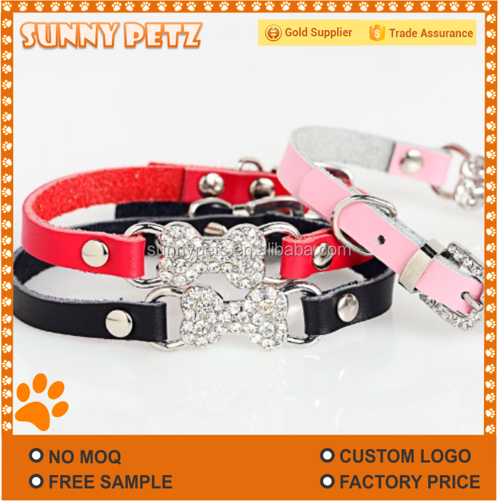 Stone Padded Leather Decorative Pet Collar
